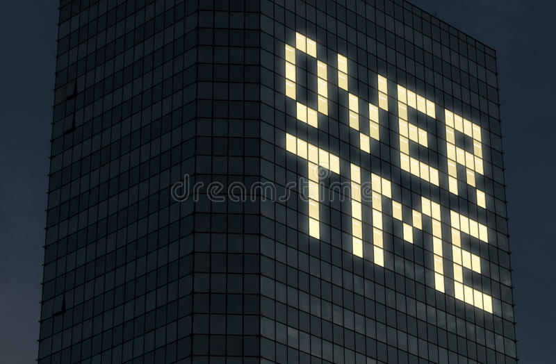 Working overtime concept. Late at work and doing extra hours. Exhaustion and pressure from too much things to do at job. Text made by office building window stock images
