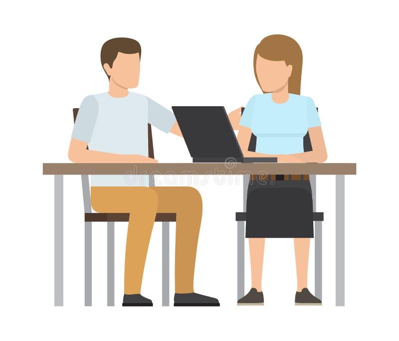 Working People Sitting Table Vector Illustration vector illustration