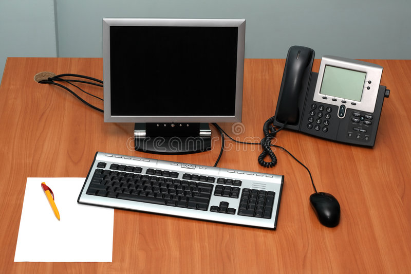 Working place. You can insert anything you want on the screen and on paper stock photo