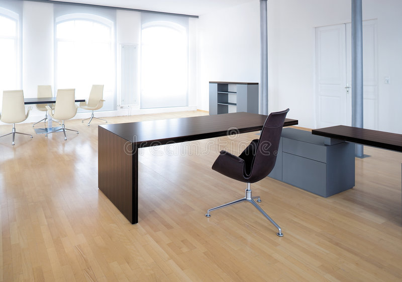 Working place. In contemporary office stock image