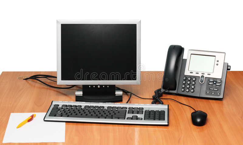 Working Place. Modern Working Place with Computer and VoIP Phone royalty free stock photos
