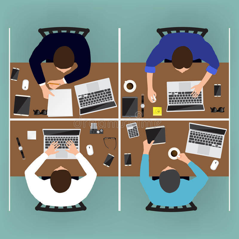 Working place of creative team in flat design. Vector illustration stock illustration