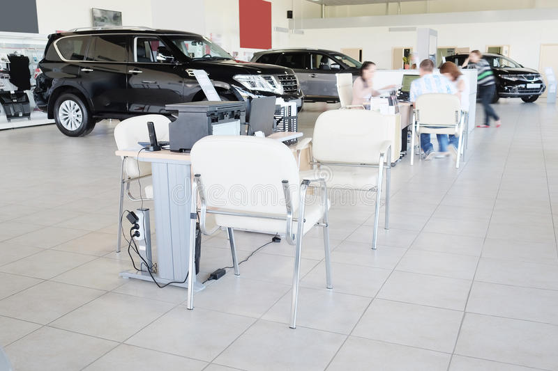 Working place of managers in a dealer's car showroom. Serpuhov, Russia, June, 2015: Working place of managers in a dealer's car showroom in Serpuhov, Russia royalty free stock images
