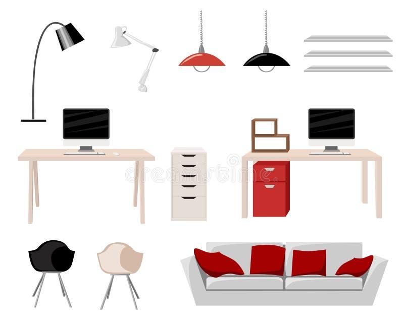 Working Place Modern Office Interior Flat Design Vector Illustration Computer desk workplace concept Workplace concept. Modern hom royalty free illustration