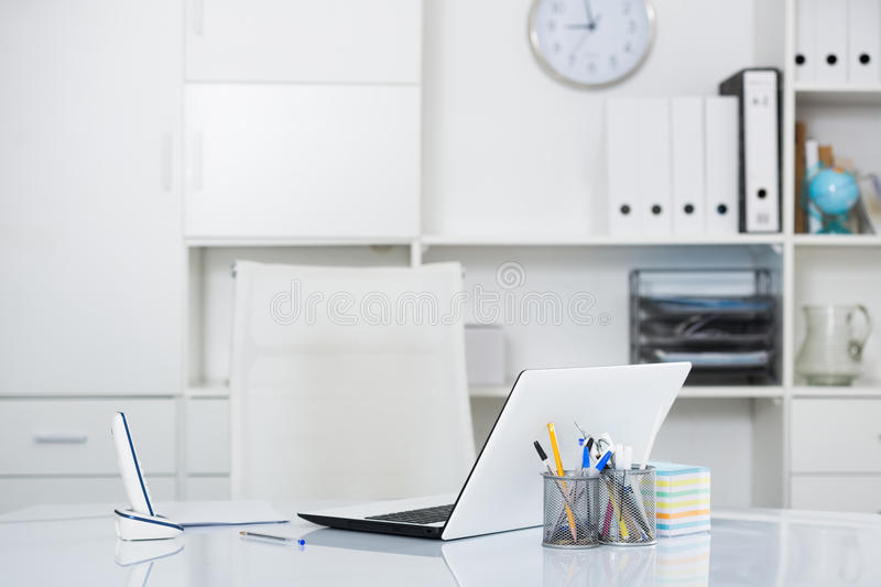 Working place in office. Before the start of working day stock images