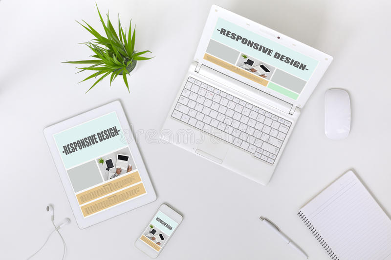 Working Place of web Designer on white Table top View royalty free stock image