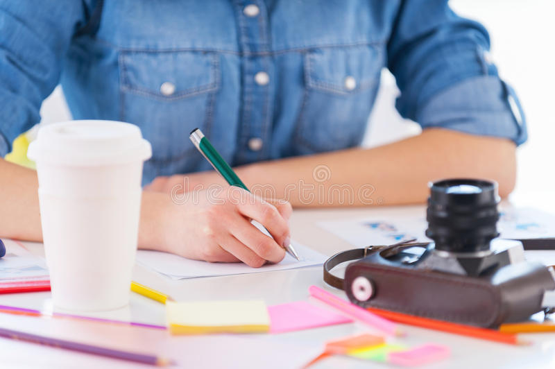 Download Working with pleasure. stock photo. Image of close, human - 39046564