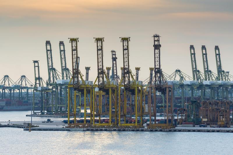 The working port of Singapore in Asia stock image