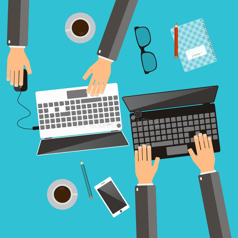 Working process of business team concept. Hands using laptops. W royalty free illustration
