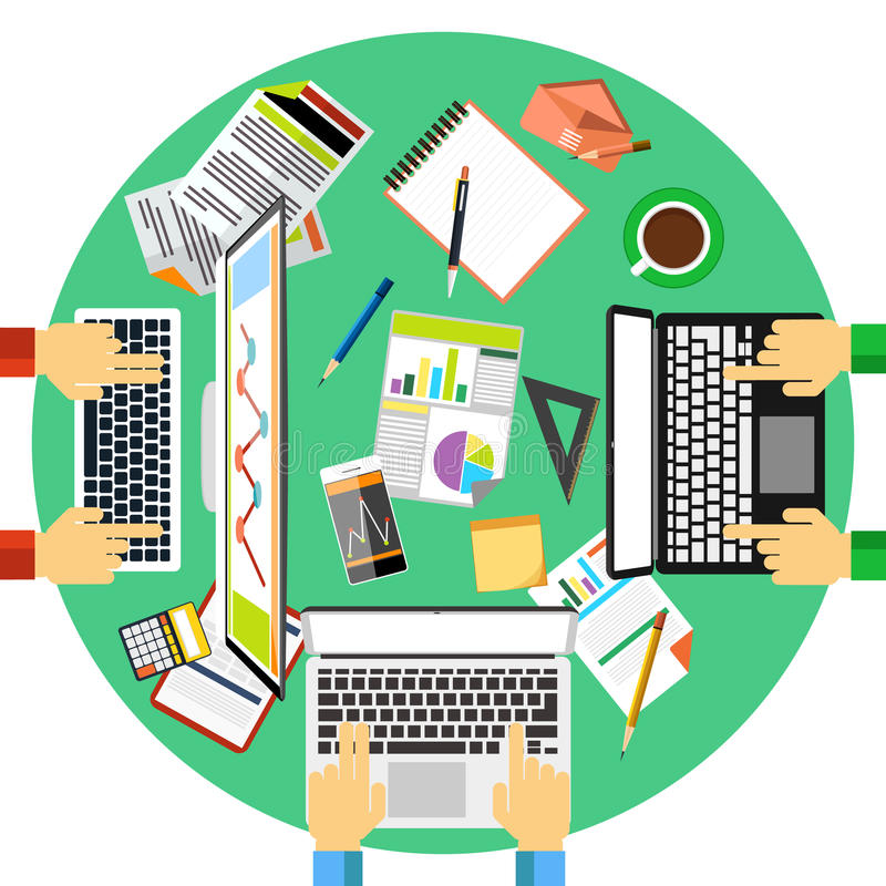 Working process of business team concept. Concept of working process and workplace organization for business team. Top view of desk with businessman hands stock illustration