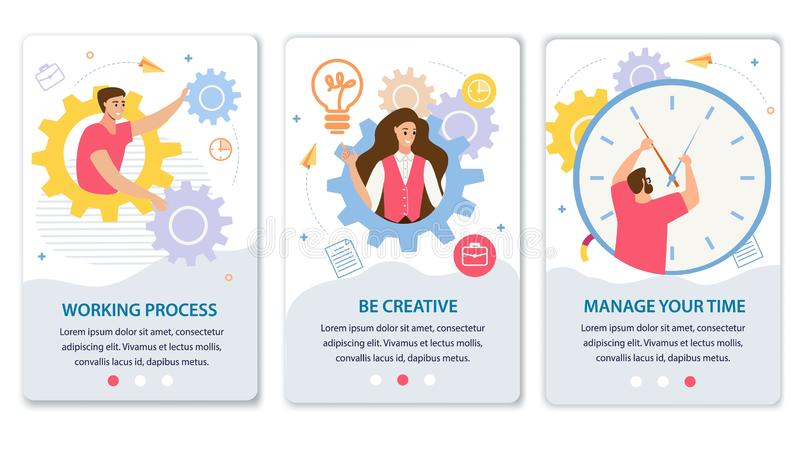 Business Processes Flat Vector Web Banners Set royalty free illustration