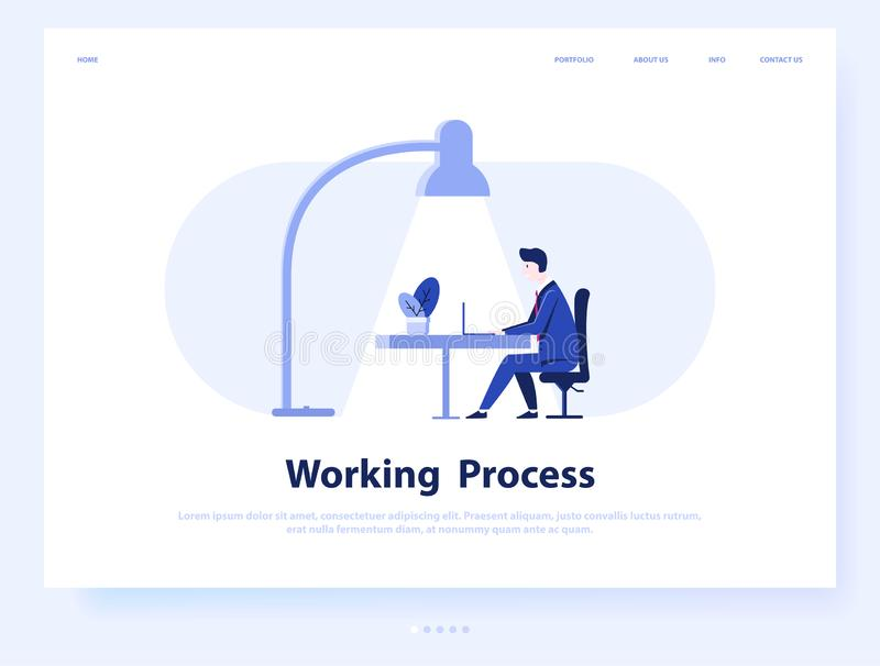 Working process web concept. Business man or freelance work. Landing page template. Vector illustration design royalty free illustration