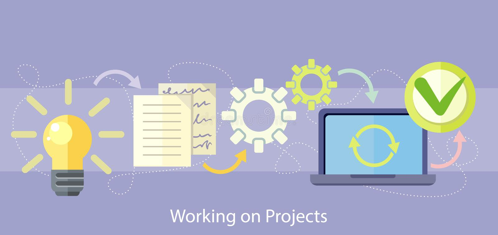 Working on Project Management and Strategy vector illustration