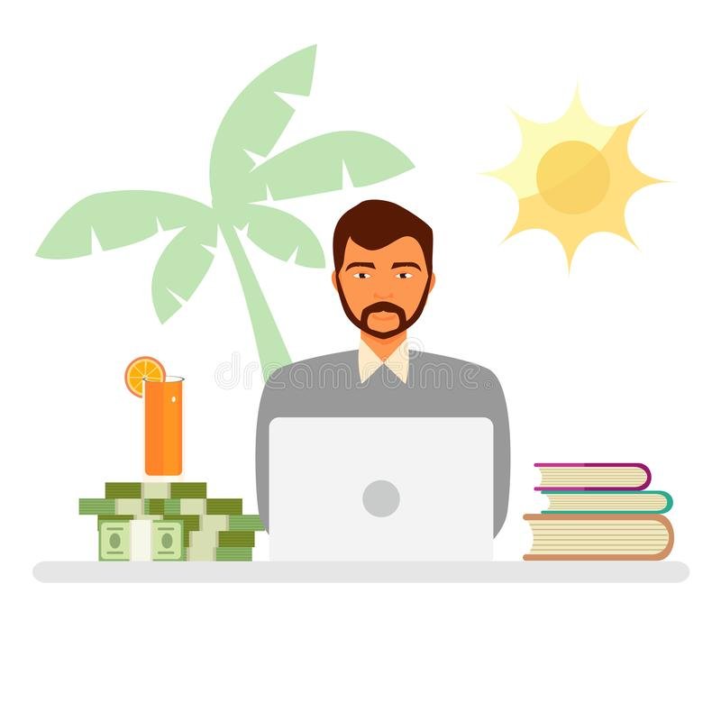 Working and relaxing. Businessman sitting and meditate imagining stock illustration