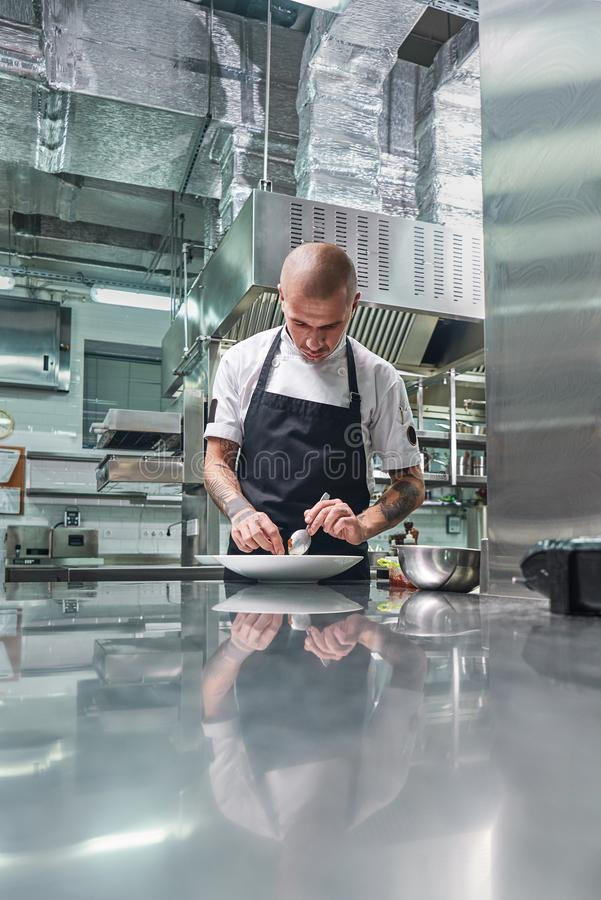 Working in a restaurant. Vertical portrait of professional male chef with tattoos on his arms garnishing his dish on the royalty free stock images