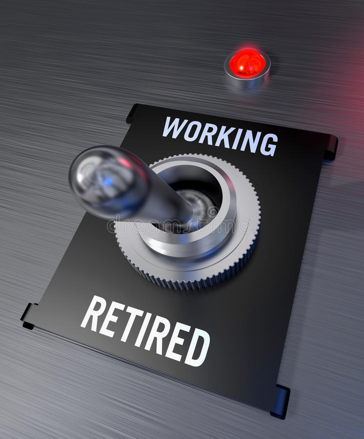 Working or retired. Silver switch in a black casing in Retired position with a shining red pilot lamp royalty free illustration