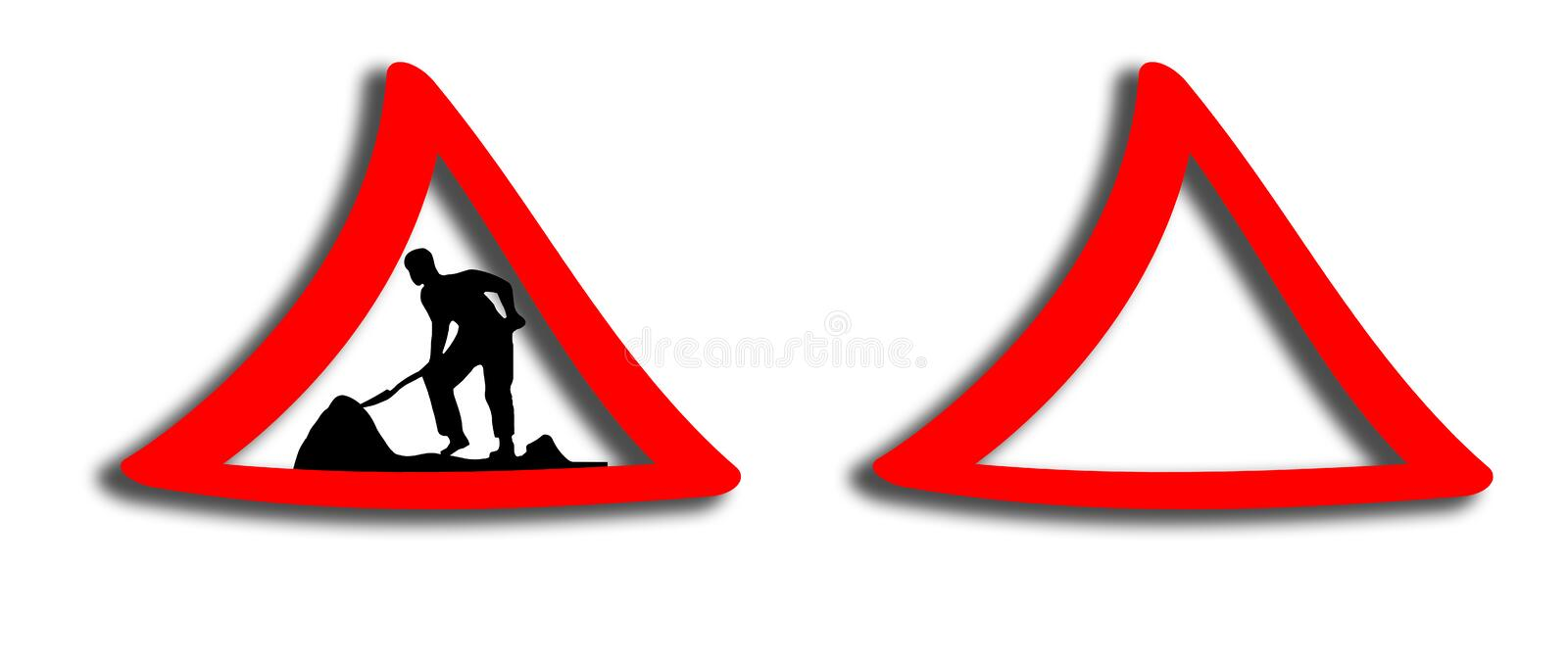 Working road sign illustration stock images