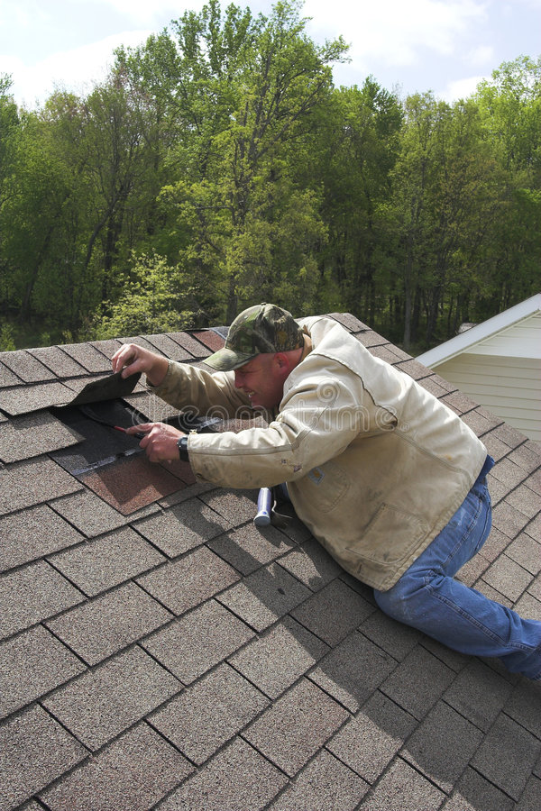 Download Working on roof stock photo. Image of tarpaper, home, hammer - 2248700