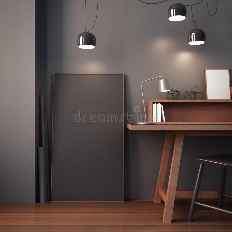 Working room & modern office interior / 3D rendering stock image