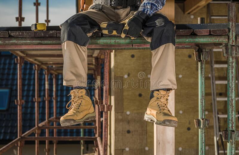 Working on a Scaffolding royalty free stock images