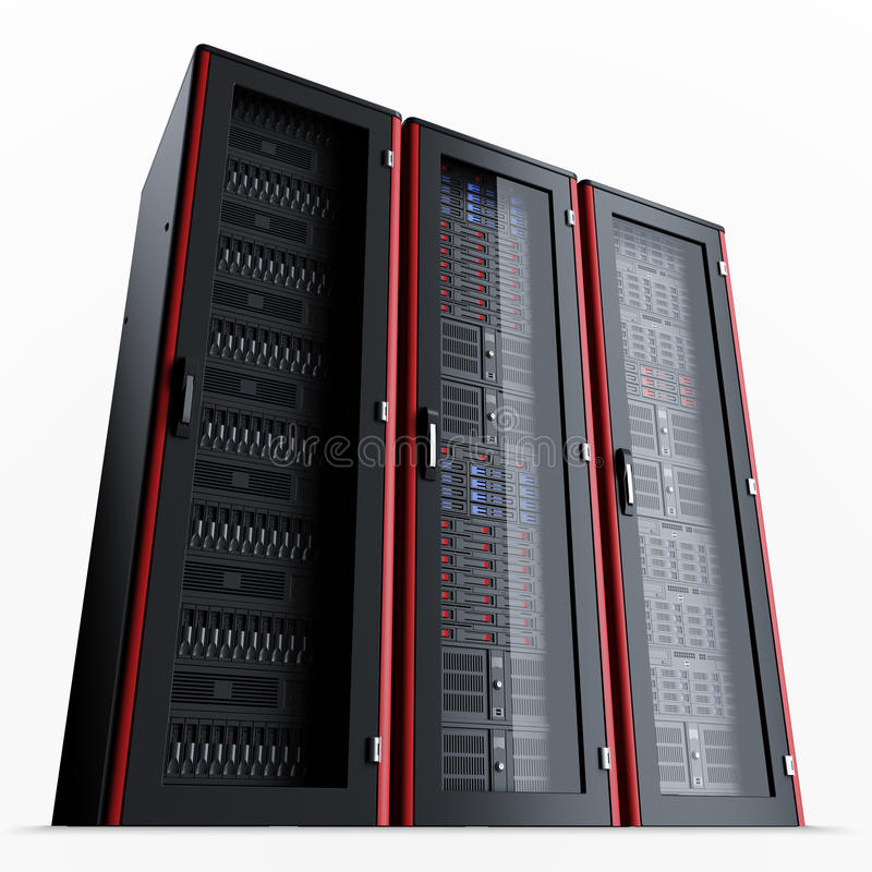 Working server rack isolated on black backgroundRow of three turned off server racks isolated on black background vector illustration