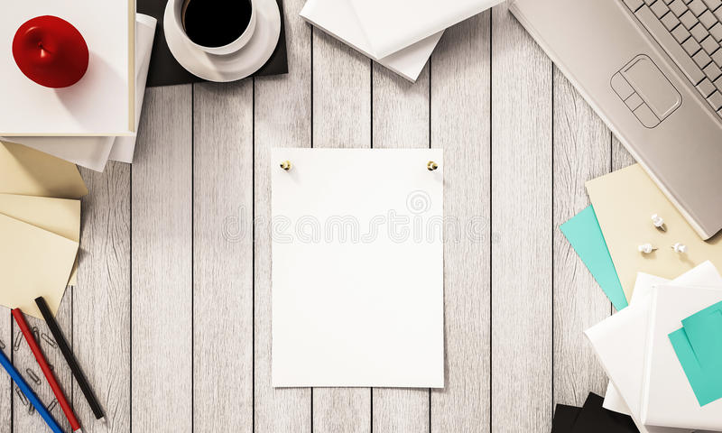 Working space,coffee cup books, pen, papers, computer notebook, apple and other supplies on white wooden desk, 3d rendered. Working space,coffee cup books, pen vector illustration