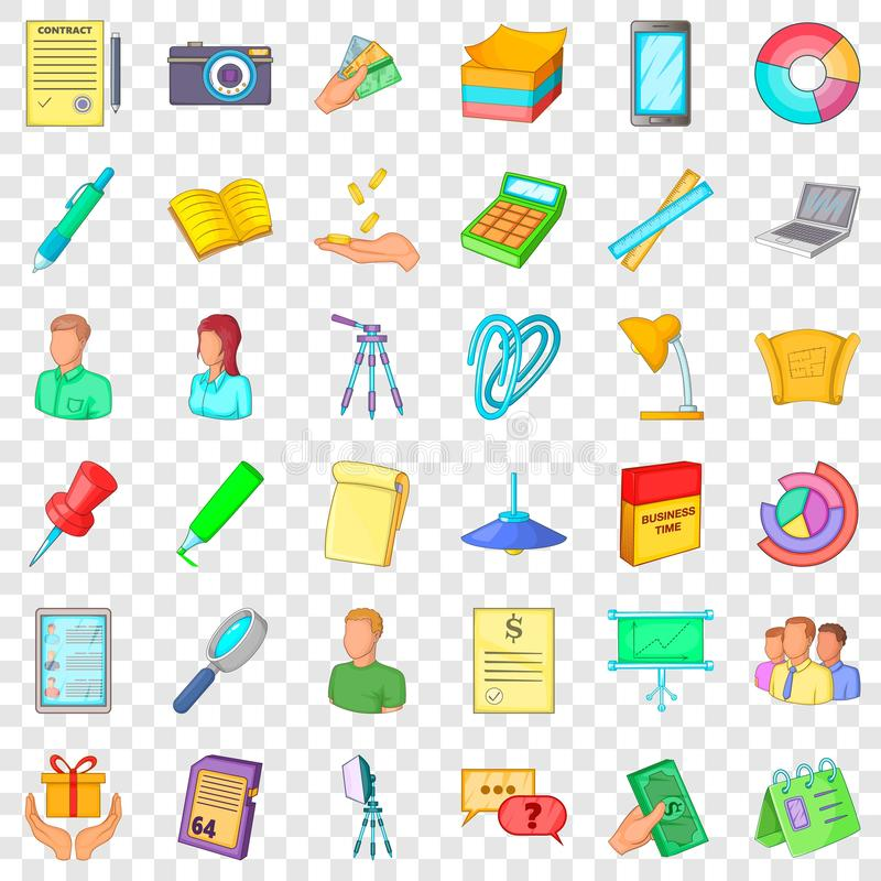 Working space icons set, cartoon style. Working space icons set. Cartoon style of 36 working space vector icons for web for any design stock illustration