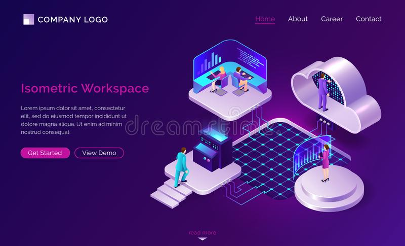Working space isometric futuristic concept royalty free illustration