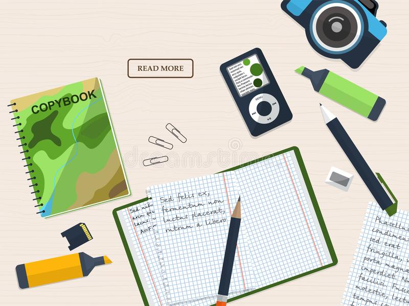Working student desk with copybook and stationery. With place for your text. Illustration stock illustration