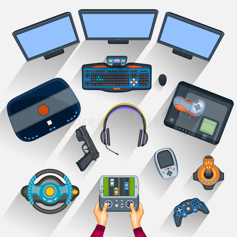 Working table of gamer. Easy to edit vector illustration of working table of gamer royalty free illustration