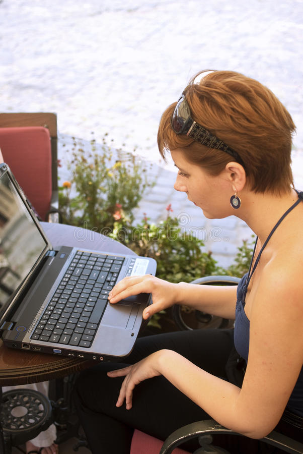 Download Working on terrace stock photo. Image of internet, female - 15622392