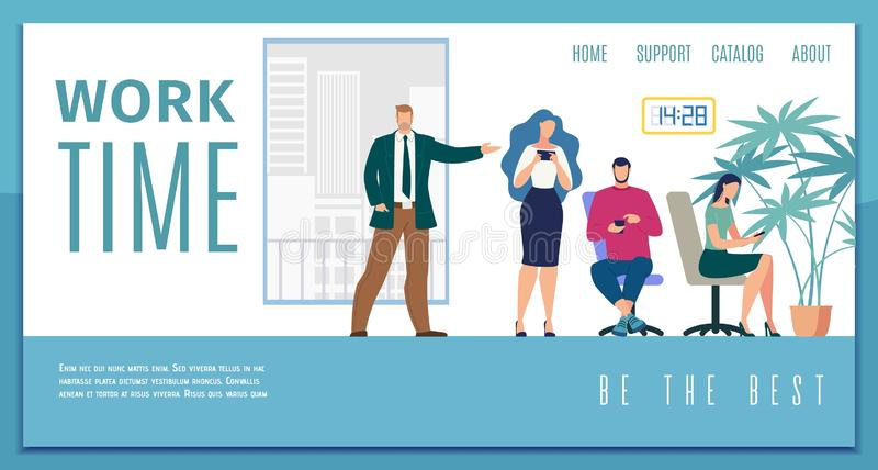 Working Time Efficiency Flat Vector Web Banner. Business Team Time Management and Work Efficiency, Working Time Calculation Service Flat Vector Web Banner stock illustration