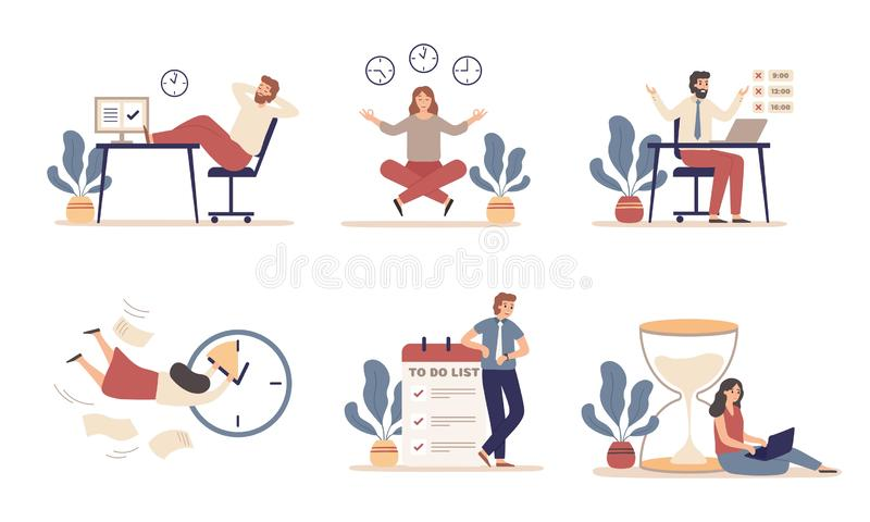 Working time planning. Work schedule, organize works productivity and tasks time management flat vector illustration set royalty free illustration