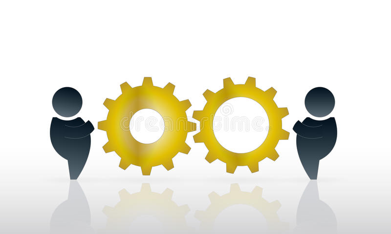 Working together. Two men working together with two gold toothed cog wheels suggesting cooperation and business progress vector illustration