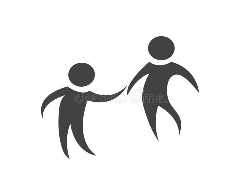 Team work figures in black and white. Simple and clean design. royalty free illustration