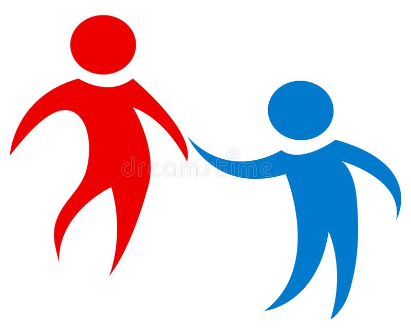 Team work figures in red and blue. Simple and clean design. Working together. stock illustration