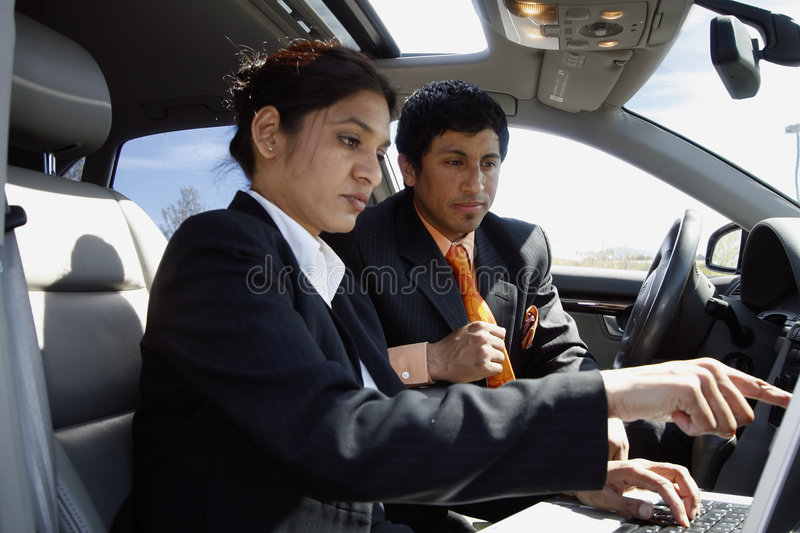 Working Together in the Car royalty free stock image
