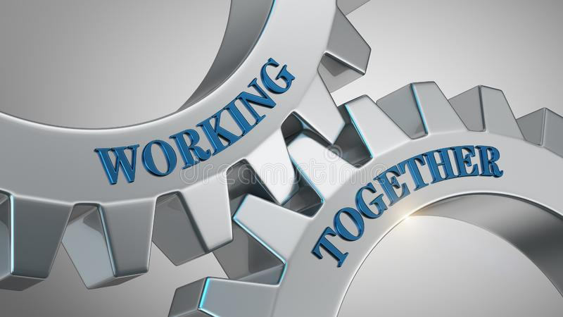 Working together concept. Working together written on gear wheel royalty free illustration