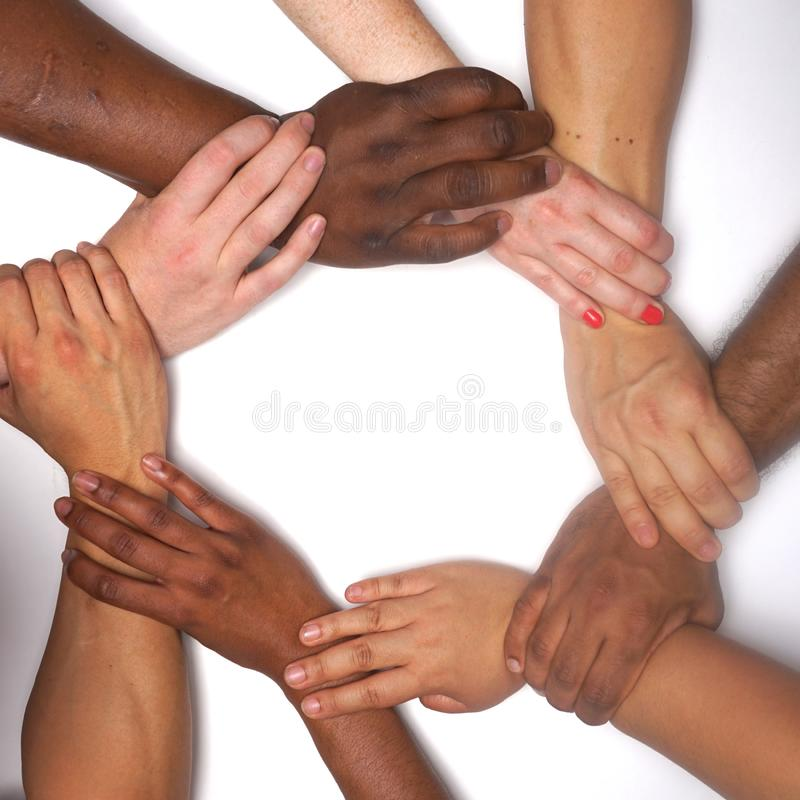 Diversity women`s empowerment hands of color stock image