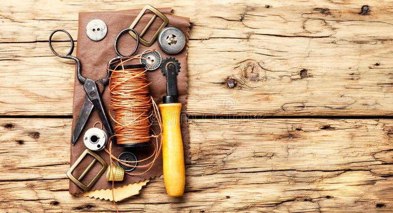 Tools for leather craft royalty free stock photography