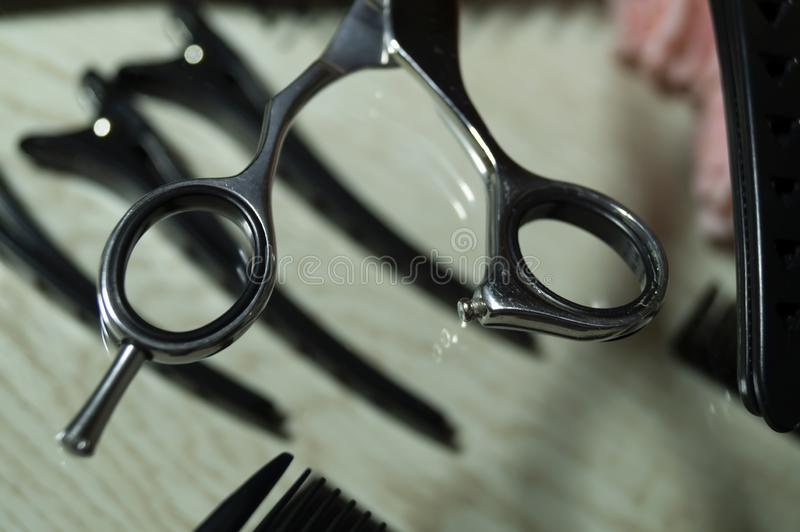 Working tools master hairdresser for cutting and combing hair stock photos