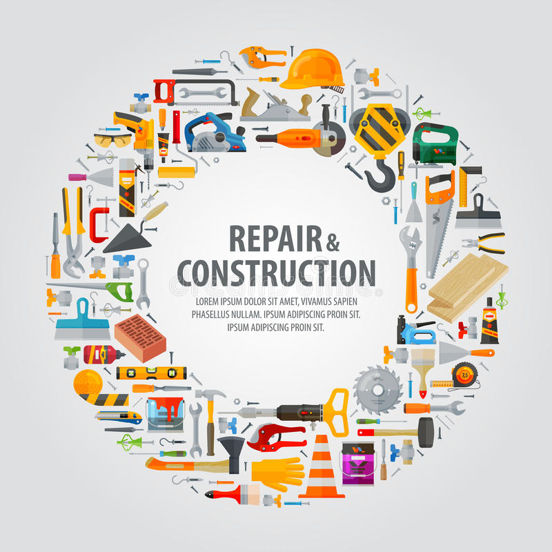Working tools vector logo design template stock illustration
