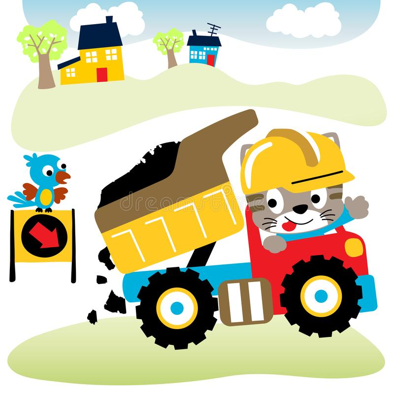 Working. Vector cartoon of little cat working with big truck. EPS 10 stock illustration
