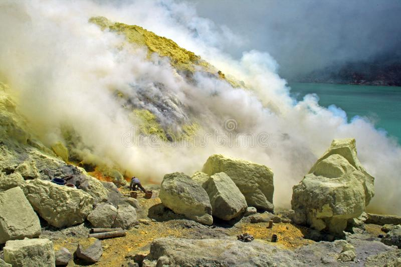 Working in volcano royalty free stock photography