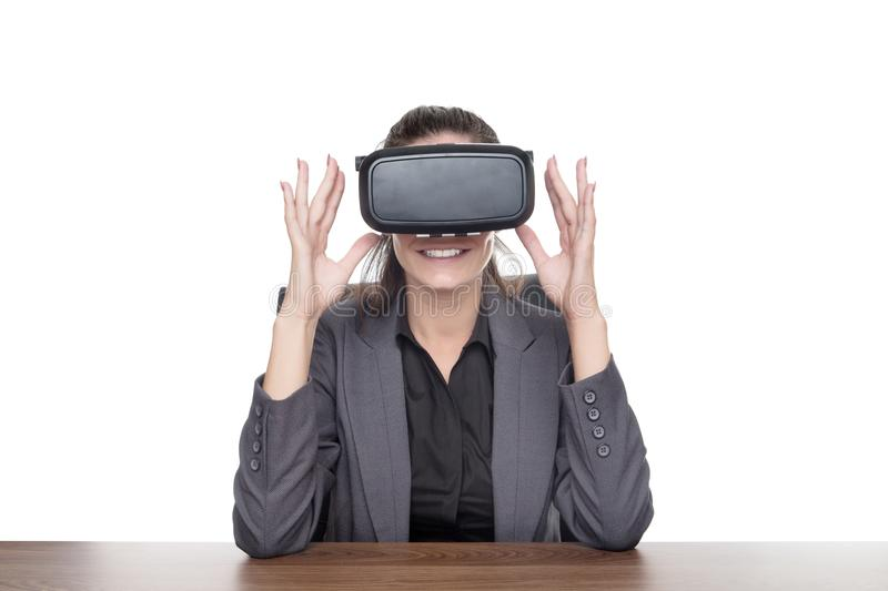 Working with a vr headset stock photos