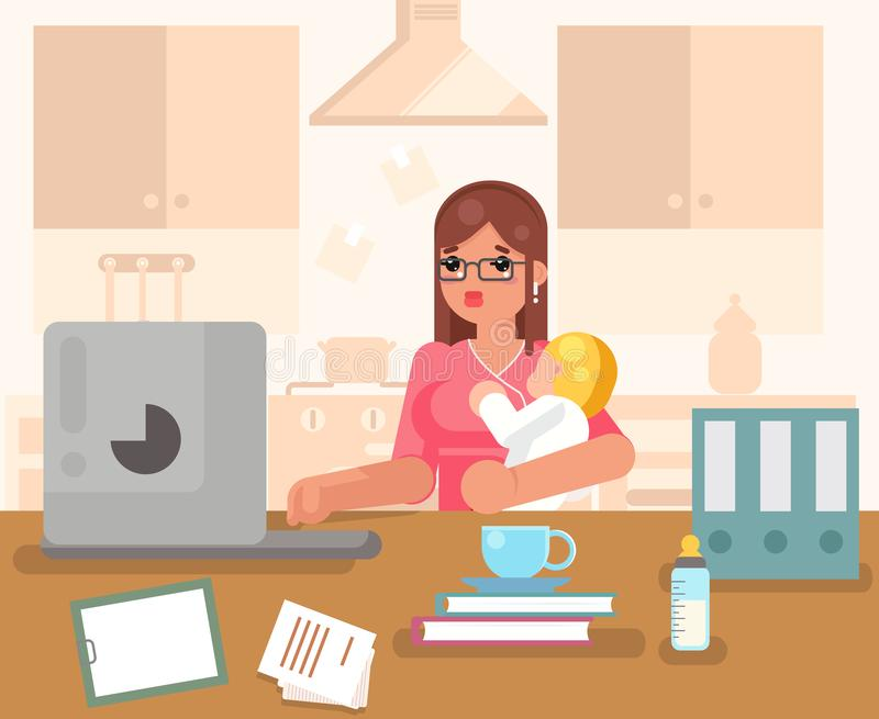 Working woman with child home room interior background flat design concept template vector illustration stock illustration