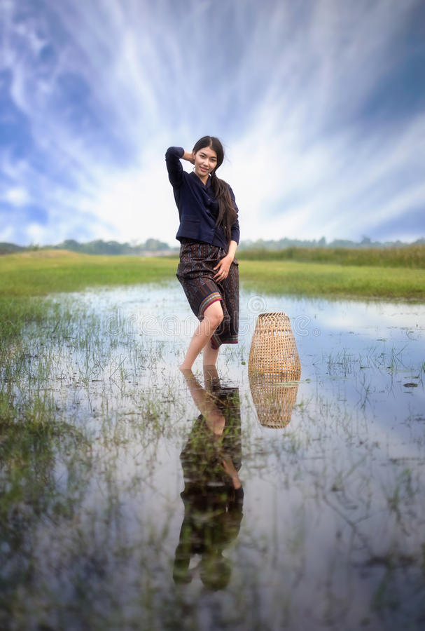 Working woman in countryside. Thailand royalty free stock image