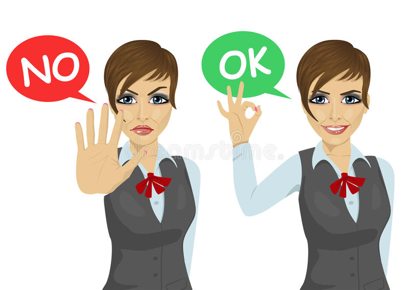 Working woman posing with speech buble says ok and no. Over white background vector illustration