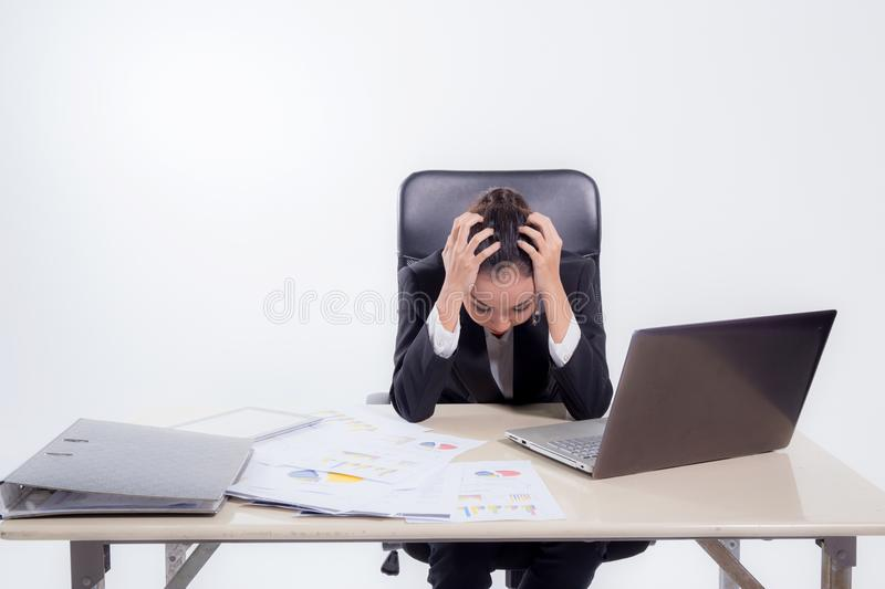 Working woman are stressed from pile of work in front of her in work concept royalty free stock photos