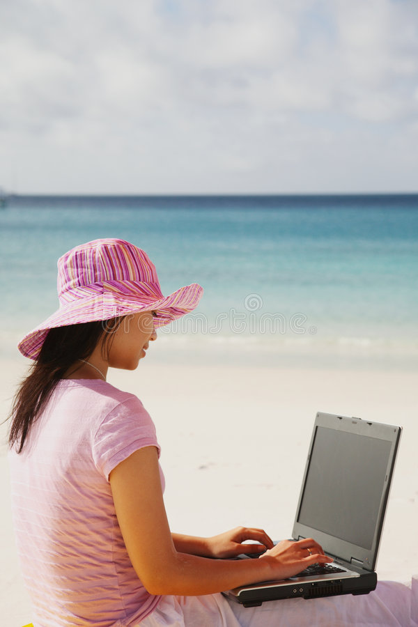 Working Woman at Whitsunday royalty free stock photography